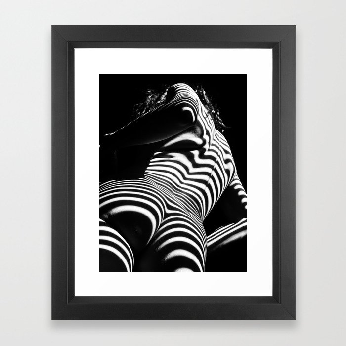 1 - 2070-ak-woman-nude-zebra-striped-light-curves-around-back-butt-behind-naked-art-framed-prints